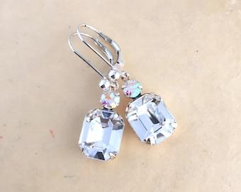 Clear Crystal Earrings - Bridal Earrings - Wedding Jewelry - Gift For Her - Prom Jewelry - Vintage Style Wedding - Clear Rhinestone Earrings