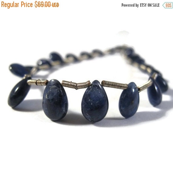 Solstice SALE-2 Days Only Natural Sapphire Briolettes, Smooth Precious Gemstone Beads, 21 Stone Strand, 6x4mm-10x7mm (Luxe-Sa10b)