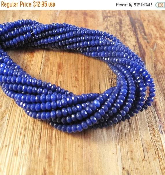 Labor Day SALE - Royal Blue Rondelles, Lapis Dyed Jade Beads, Rondelle Necklace, 15.5 Inch Strand of Faceted 4mm Gemstones for Making Jewelr