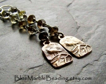 Rustic Earrings-Shoulder Duster-Quartz Earrings-Bird Earring-Bronze-Raven-Ombre Earrings-Long Earrings-Wired Earrings-Oxidized