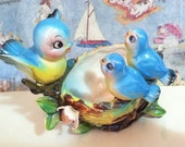 FREE SHIPPING Vintage Antique Norcrest Bluebird Family in a Nest Planter or Candy Bowl or Catch All New Old Stock Norcrest Collectible