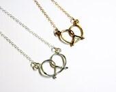 Super Pretzel Necklace - Handmade Brass or Sterling Silver Pretzel Necklace
