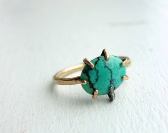 14k Gold Filled and Turquoise Gemstone Ring Handmade in Prongs