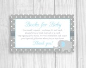 Printable Baby Shower Book Request Cards - Sheet of 3x5 Books for Baby Cards - Blue and Gray Elephant Boy's Baby Shower