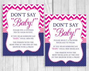 Printable Don't Say Baby! 8x10 Clothes Pin or Pacifier Necklace Baby Shower Game Hot, Pink Chevron & Navy Blue Polka Dots - Instant Download