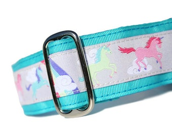 "1.5"" Dog Collar Unicorns Blue - Choose Your Collar Style!"