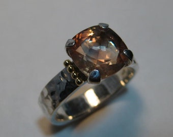 Beautiful Cushion Cut Champagne Oregon Sunstone Ring ... Sterling Silver and 14 kt Yellow Gold ...  Size 9 1/2 ....      e814