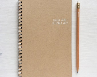 2016 - 2017 small kraft monthly academic spiral planner