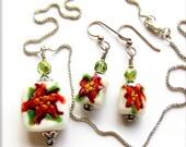 Christmas Lampwork Glass Bead Poinsettia earrings pendant sterling silver