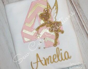 Tinkerbell Birthday shirt, Fairy Birthday shirt, Tinkerbell shirt, Fairy shirt, Girl Birthday Shirt, Fairy Wing Shirt, sew cute creations