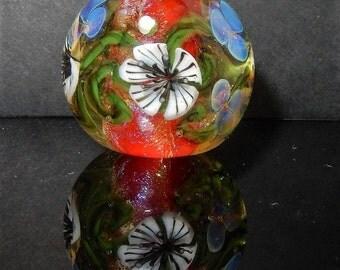 Red powerflower - lampwork bead -  focal - made by ISR - Glasdesign