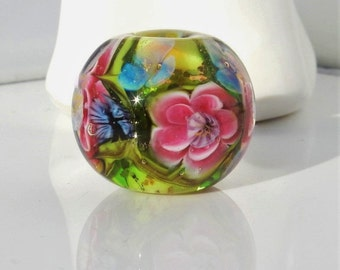 Papillon - lampwork bead -  focal - made by ISR - Glasdesign