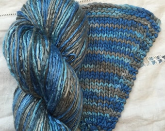 Silk Yarn Hand Dyed worsted weight - Storm  (5)