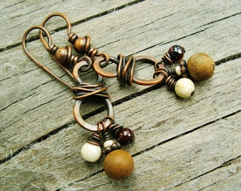 Hammered wire wrapped dangle earrings in antiqued copper with garnet, jasper and riverstone bead dangles