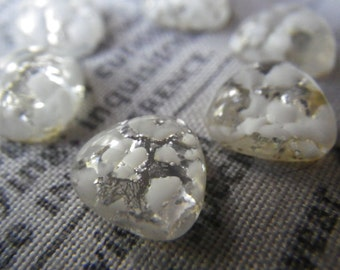 Vintage White Snow Silver Fire Opal Glass 10mm Trillion or Triangle Cabochons Cherry Brand 6 Pcs
