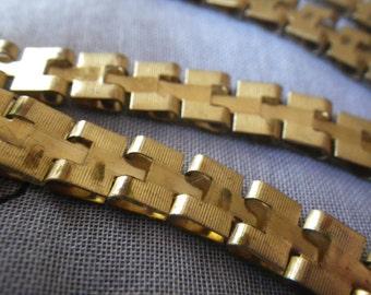 Wide Stamped Unplated Brass Chain 8mm Wide 5 Feet