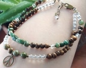 Gemstone Anklet - Oh so Earthy - Brown and Green with Peace Sign - Double Strand - Bohemian Style - Wood - Wooden Jewelry Funky OOAK Boho
