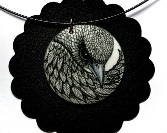Hand Drawn Bird Pendant