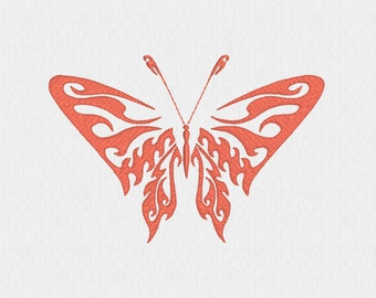 Butterfly with fire or waves machine embroidery design file