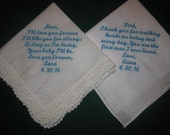 Wedding Handkerchief Gift Set for Mom and Dad 204S Wedding Gift Embroidered for Mother and Father