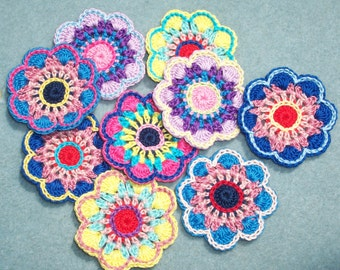 9 handmade cotton thread crochet applique flowers -- 2479