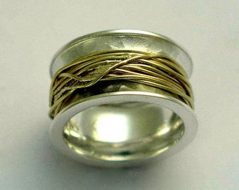 Wedding band, Sterling silver ring, yellow goldfilled ring, Gold wire ring, wide ring, silver band - Wrapped around your finger  R1012Z