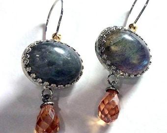 Drop labradorite earrings, Gemstone earrings, champagne quartz earrings, dangle earrings, sterling silver earrings - Shades of life E8003