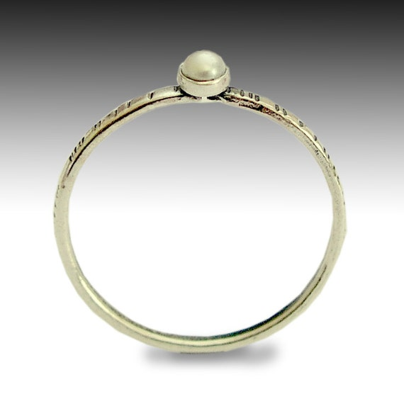 Sterling silver ring, Tiny ring, thin band, grooved band, tiny pearl ring, stone ring, engagement ring, dainty silver ring - Time out R1594X