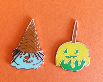 Halloween Ice Cream Witch and Caramel Apple Jackolantern Enamel Pins