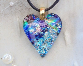Fused Dichroic Glass Heart Pendant, Necklace, Glass Jewelry, Necklace Included, Blue, One of a Kind, A8