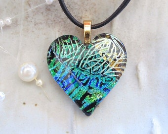 Blue and Green Heart Necklace, Gold Dichroic Heart Pendant, Glass Jewelry, One of a Kind, Necklace Included, A8