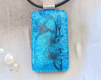 Blue Necklace, Dichroic Glass Pendant, Necklace, Fused Glass Jewelry, Floral, Black, Necklace is Included, A7