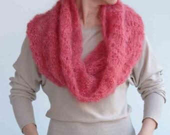 Redish circle SCARF, wrap---warm original accessory, hand knitting, ready to ship