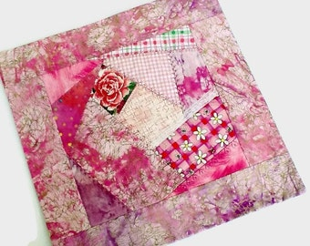 Pink Gold Crazy Rose Mini Quilt - Floral Quilted Centerpiece - Housewarming Gift for Home - Handmade Square Reversible Coffee Table Topper