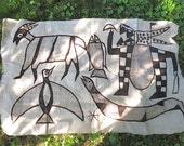 Vintage African Mud Cloth Kuba Cloth - Hand Painted Animal Tapestry