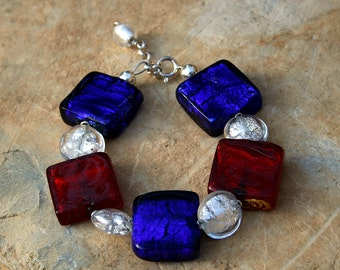 Red White and Blue Murano Glass  Square Bead Bracelet