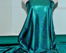 Shattered Glass Hologram Spandex Jade Green Fabric ...dance...cheer bows...gymnastics...costume..crafts...pageant