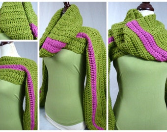 Crochet Shrug with Matching Infinity Scarf - Pink and Green - AKA