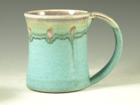 Coffee Mug Cup ,large ceramic mugs with large Handle, turquoise,  wheel thown (20oz) -- Perfect Hot & Chocolate
