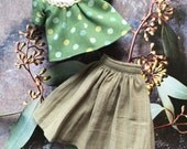 Skirt and blouse set - sea green spots