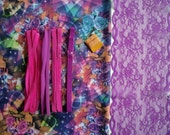 WINTER Lycra and notions Multicolor Party Flowers & Purple for 1 BRA and BRIEF by Merckwaerdigh