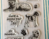 Vintage Paw Pals Dog 6x4 Clear Stamp Set 10 pc