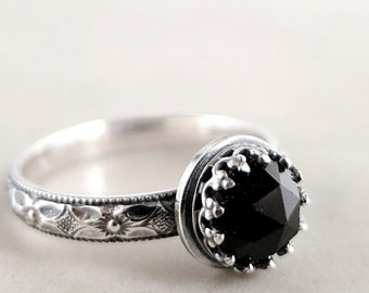 Gothic Jewel, Black Spinel ring, Sterling Silver, Medieval inspired jewelry, Crown setting
