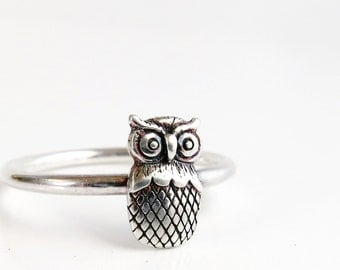 Owl ring, Sterling Silver, stack ring, bird ring, Nature jewelry