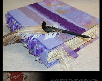 Amethyst Golden Purple...Patchwork... Glass Beaded XL Handmade Journal / Sketch Book and Quill Pen...Guest Book...Refillable BOS