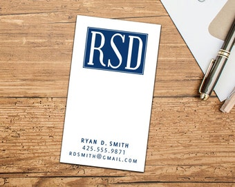 Bold Monogram Calling Card/Business Cards, Set of 50 or 100 Business Cards, Personalized Calling Cards, Custom Business Cards, Simple Bold