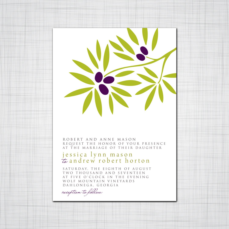 Garden Wedding Invitation Set Olive Branch Wedding Invite