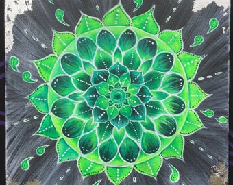 Heart Chakra mandala painting  - Acrylics on canvas board A3