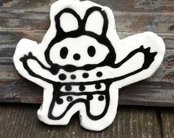 Ceramic magnet Bunny Robot With Buttons