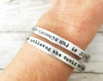 Have Courage and Be Kind, She Believed She Could So She Did cuff bracelets, Inspirational Quote, Two Bracelets, Gift for Her Daughter